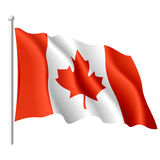 Flag of Canada. Vector illustration of a flying flag of Canada Stock Photos