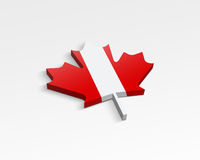 Flag of Canada. On a maple leaf Stock Images