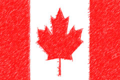 Flag of Canada background o texture, color pencil effect. Stock Photos