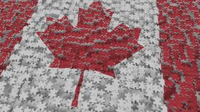 Flag of Canada being made with jigsaw puzzle pieces. Canadian problem solution conceptual 3D rendering. Flag made of puzzle pieces, conceptual 3D vector illustration