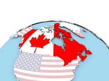 Flag of Canada on bright globe. Canada on political globe with embedded flags. 3D illustration Royalty Free Stock Images