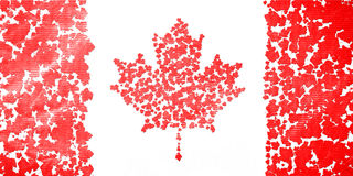 Flag of Canada created from splash red maple leaves. Royalty Free Stock Photo
