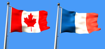 Flag of canada and france. On blue background with visible fabric texture - rendering Stock Images