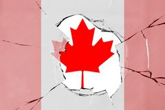 Flag of Canada on glass. Flag of Canada on a on glass breakage stock illustration
