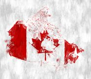 Flag of Canada with Grunge Wall texture. vector illustration