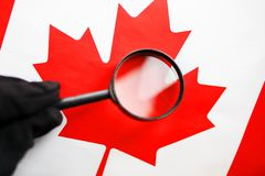 The flag of CANADA looks through a magnifying glass. Study of the history and culture and people of the country of Canada. The. Concept of studying the stock photography