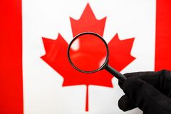The flag of CANADA looks through a magnifying glass. Study of the history and culture and people of the country of Canada. The. Concept of studying the stock image