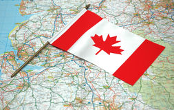 Flag of Canada and map stock photography