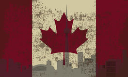Flag of Canada. And the outline of Toronto Royalty Free Stock Photography