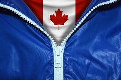 Flag of Canada with unpacked zipper royalty free stock images