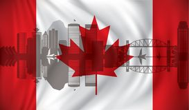 Flag of Canada with Vancouver skyline. Vector illustration Stock Photography