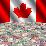 Flag with Canadian dollars. Rippled flag with Canadian dollars globe illustration Royalty Free Stock Photography