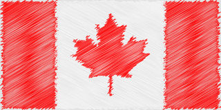 Flag Canadian pencil drawing vector illustration. Vector flag. Using for decoration works. Flag of Canada Stock Images