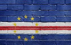 Flag of Cape Verde on brick wall Royalty Free Stock Photo