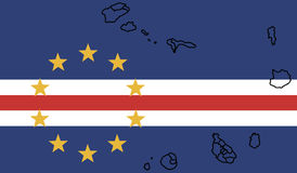 Flag of Cape Verde - Republic of Cape Verde with map Royalty Free Stock Photos