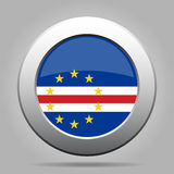 Flag of Cape Verde. Shiny metal gray round button. Royalty Free Stock Images