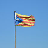 Flag of Catalan. Estelada Blava, Flag of Catalan Stock Photo