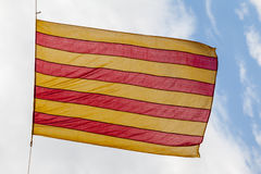 Flag Catalonia above blue sky Royalty Free Stock Photography