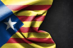 Flag of Catalonia on blackboard background. 3D rendering Stock Photos