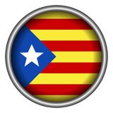 Flag of Catalonia. On a button, Vector illustration Royalty Free Stock Images