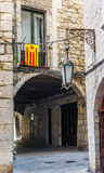 Flag of Catalonia in the downtown of Girona. Spain. Stock Images