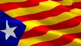 Flag of Catalonia flag video waving in wind. Realistic Barcelona Flag background. Catalonia Flag Looping Closeup 1080p Full HD 192 royalty free illustration
