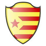 Flag of Catalonia. On a heraldry shield, Vector illustration Royalty Free Stock Photography