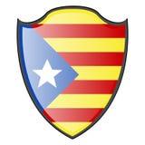 Flag of Catalonia. On a heraldry shield, Vector illustration Stock Photos