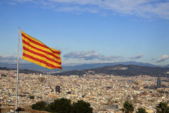 Flag of Catalonia in Montjuic Castle, Barcelona, Spain Stock Images