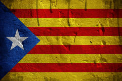 Flag of Catalonia overlaid with grunge texture Stock Images