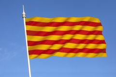 Flag of Catalonia - Spain. The flag of Catalonia in Spain. Known as the Senyera Royalty Free Stock Photos