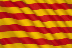 Flag of Catalonia - Spain - Europe. The flag of Catalonia in Spain. Known as the Senyera Royalty Free Stock Photo