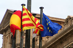 Flag of Catalonia spain and europion union Stock Photo