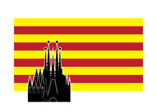 Flag of Catalonia Spain. Royalty Free Stock Photography