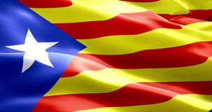 Flag of catalonia yellow and red strip with star waving texture fabric background, national catalan symbol vote for separatism stock footage