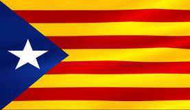 Flag of catalonia yellow and red strip with star waving texture Stock Photography