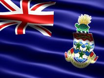 Flag of the Cayman Islands. Computer generated illustration with silky appearance and waves Royalty Free Stock Photos