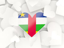 Flag of central african republic, heart shaped stickers. Background. 3D illustration Royalty Free Stock Images