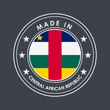 Flag of Central African Republic. Round Label with Country Name for Unique National Goods. Vector stock photography