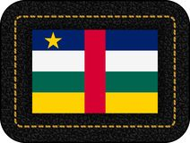 Flag of Central African Republic. Vector Icon on Black Leather Backdrop. Ratio 2:3 royalty free stock image
