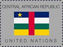 Flag of Central African Republic. Vector Sign and Icon. Postage Stamp stock photo