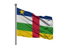 Flag of Central African Republic waving in the wind, isolated white background.  stock photo