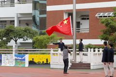 Flag ceremony of  school adult ceremony, adobe rgb. December 30, 2017,  students of Xiamen No. 1 Middle School held an adult ceremony. 18-year-old students and Royalty Free Stock Photos