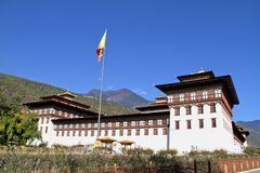 Flag Ceremony at Tashicho Dzong or Thimpu Palace. Buddhist monastery and fortress on the northern edge of the city of Thimpu in B