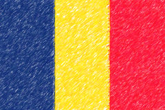 Flag of Chad background o texture, color pencil effect. Stock Photos