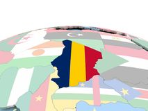 Flag of Chad on bright globe. Chad on political globe with embedded flags. 3D illustration Stock Photos