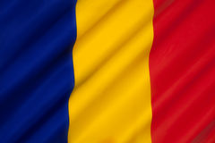 Flag of Chad. The national flag of Chad. The flag is very similar to the civil flag of Andorra and the flag of Romania. The similarity with the Romanian flag royalty free stock images