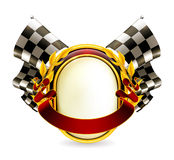 Flag checkered emblem Stock Images