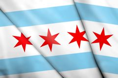 Flag of Chicago (USA). This is an illustration of folded flag Royalty Free Stock Photography
