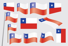 Flag of Chile. Set of flags of Chile vector illustration Stock Photo